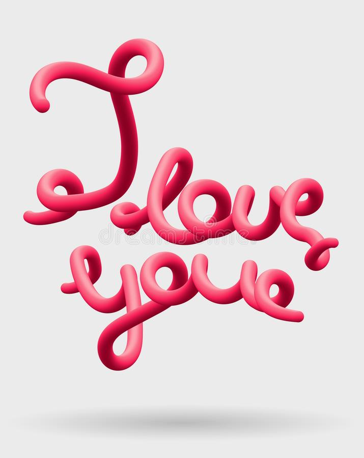 Download I Love You Creative Pink Lettering Glossy Blended Letters 3D Bubble Font Stock