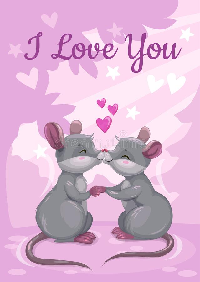 I love you. Cute Valentines Day greeting card with cartoon mice. vector illustration
