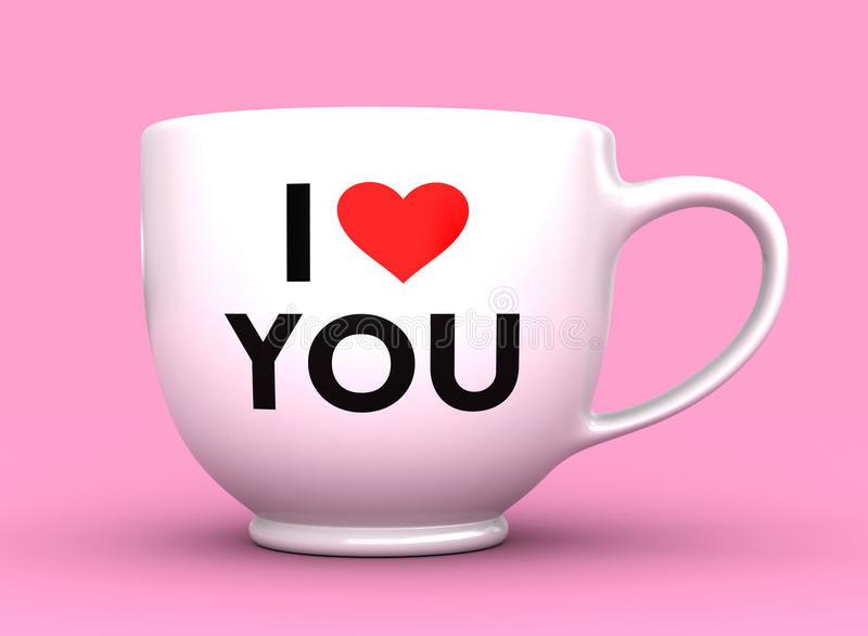 I Love You. 3d render of white cup with caption I Love You stock illustration