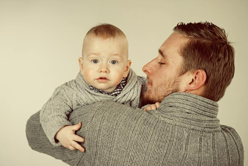 I love you, dad. Fathers or family day. Handsome man with little child. Father and son. Father and child. Family. Relations. Happy international childrens day stock image