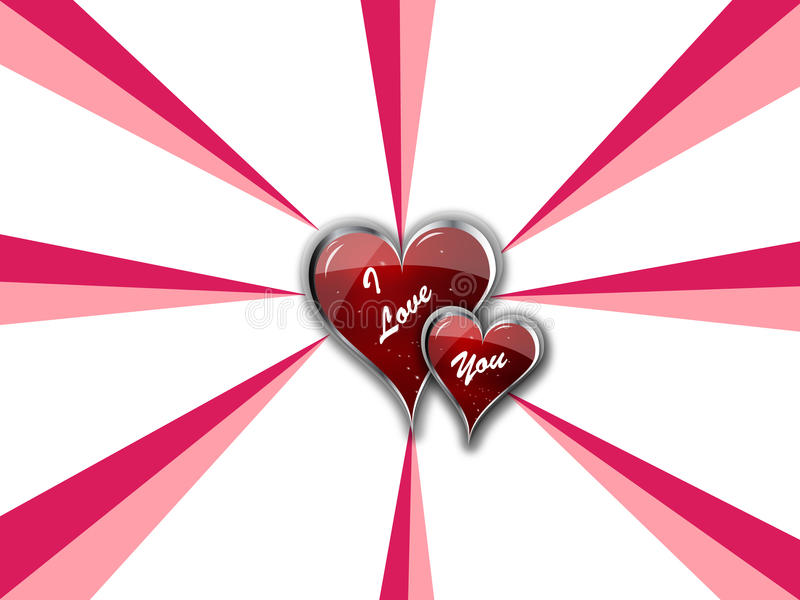 I Love You Double Hearts royalty free illustration