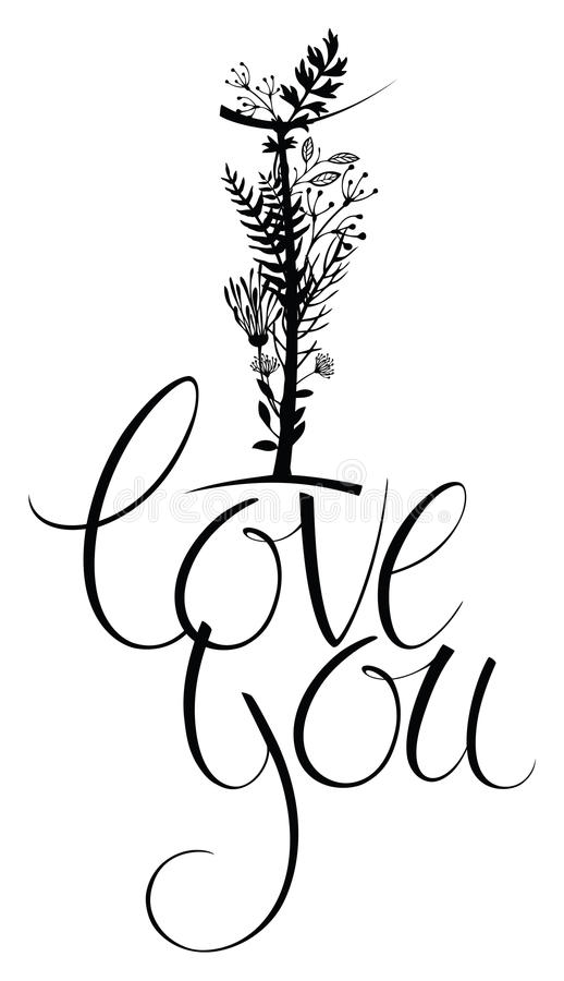 Download I Love You. Floral Card With Calligraphy Stock Photo - Image: 36982420