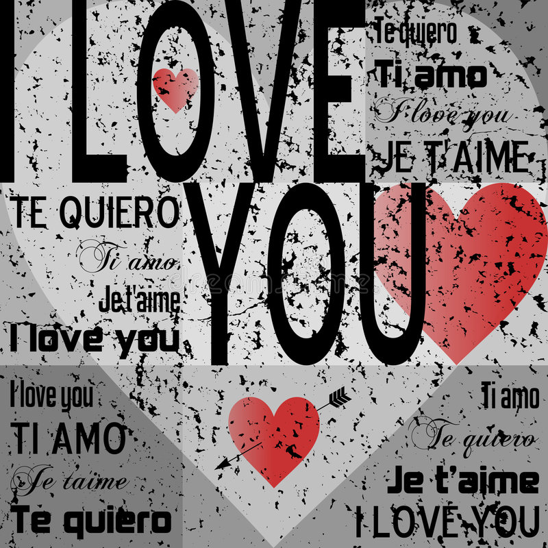 "I Love You [Gray Grunge]. St. Valentines or Saint Valentine s Day gray grunge background with the words ""I love you"" in English, Italian, French and"