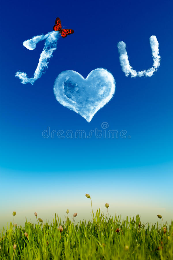 Download I Love You Greeting Card With Cloud Letters Stock Illustration - Image: 29316401