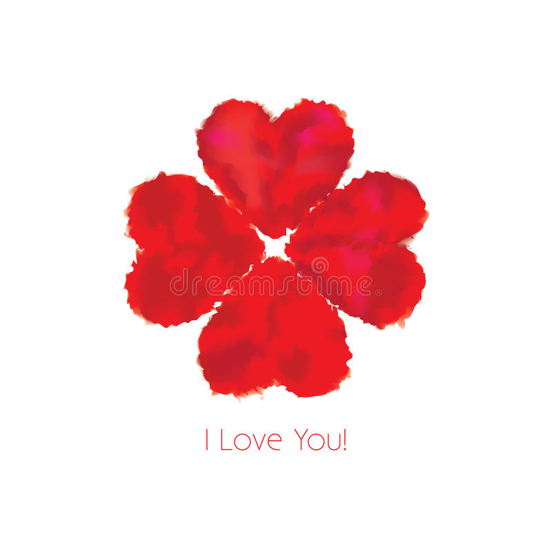 I love you. Greeting card with decorative hearts. Vector illustration stock illustration