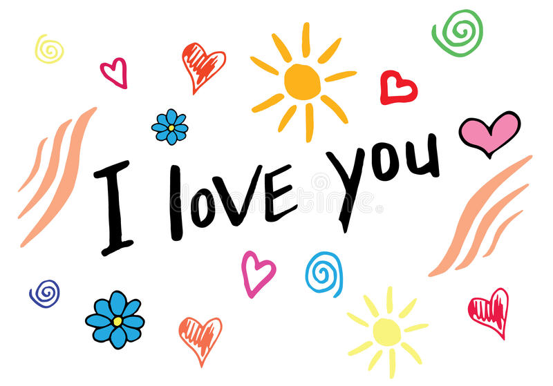 I love you hand lettering, handmade calligraphy. Hand drawn doodles stock photography