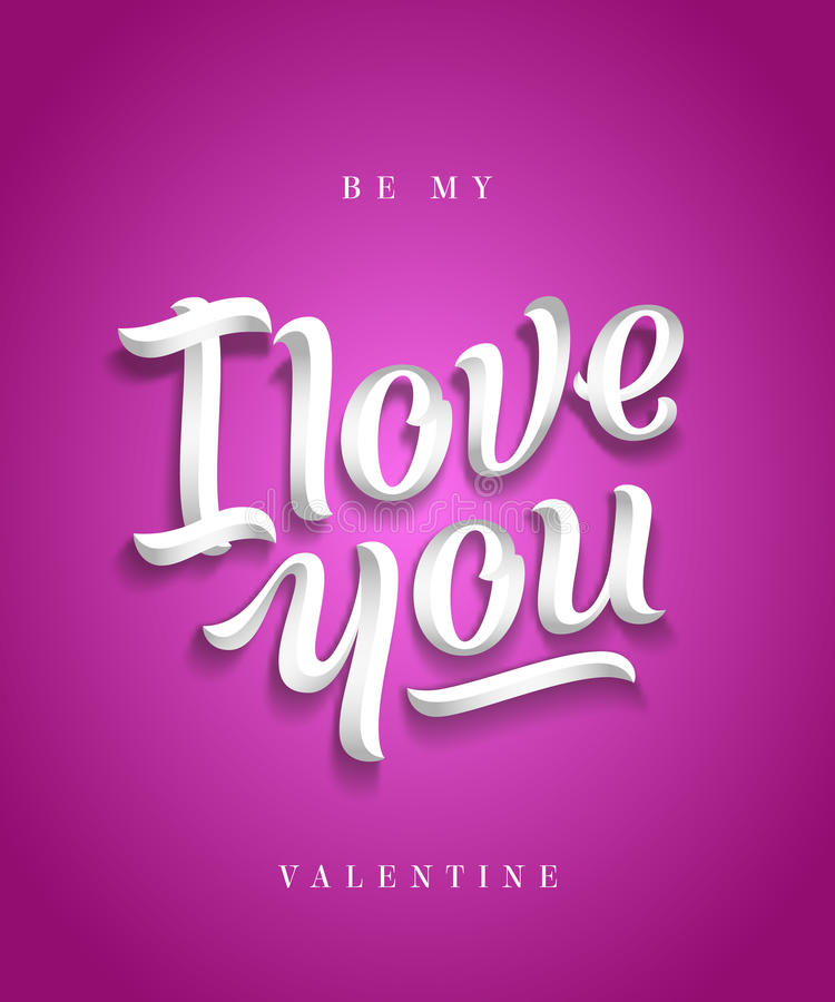 I Love You Hand Made Premium Quality Lettering. Valentines Day Greeting Card. Soft Shadows. Purple or Pink Background. stock illustration