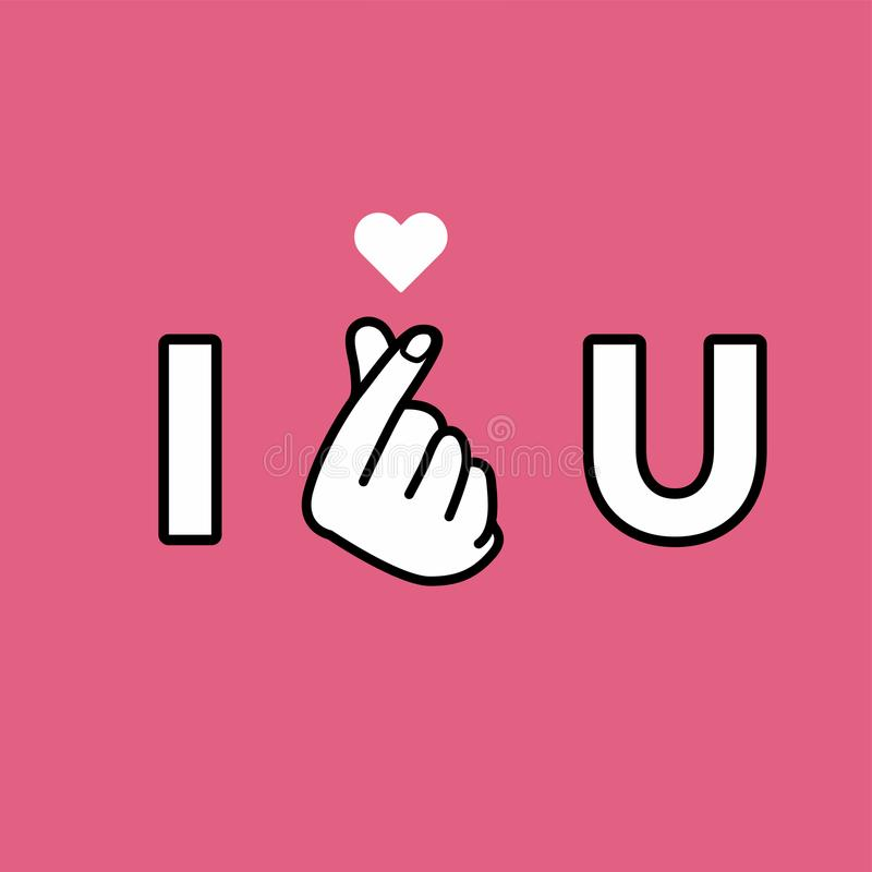 I love you. Hand making mini heart sign. Vector royalty free illustration