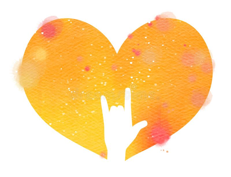 I love you hand sign in watercolor heart. Digital art painting.  stock photos