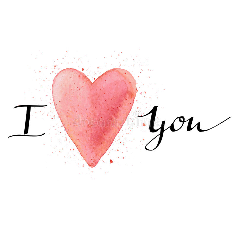 I love you. Handmade watercolor postcard with heart and lettering. stock image