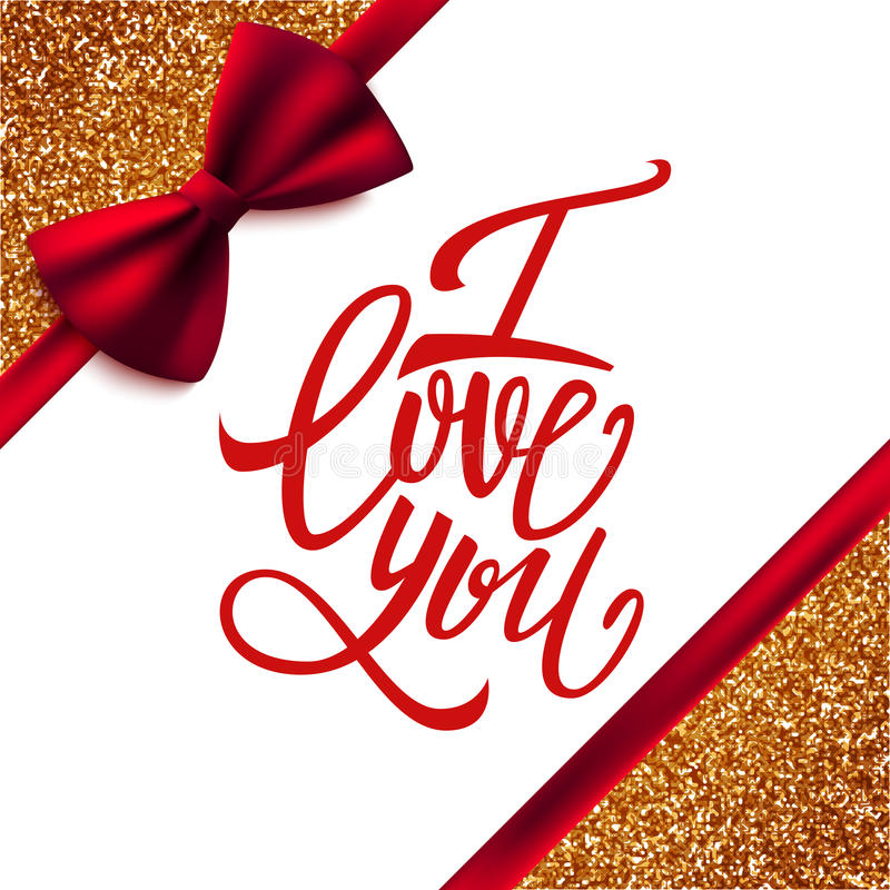 I love you handwritten brush pen lettering on glitter background with red bow, Valentine's Day stock illustration