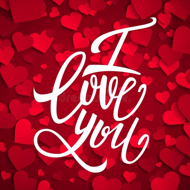 I love you handwritten brush pen lettering on red hearts background, Valentine's Day. Vector illustration vector illustration