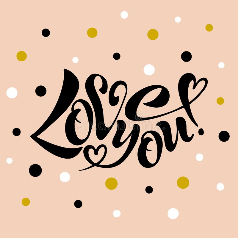 Vector illustration of I love you. I love you, handwritten text for postcards, posters, valentines, logos or prints in vector format. The inscription, the color stock illustration