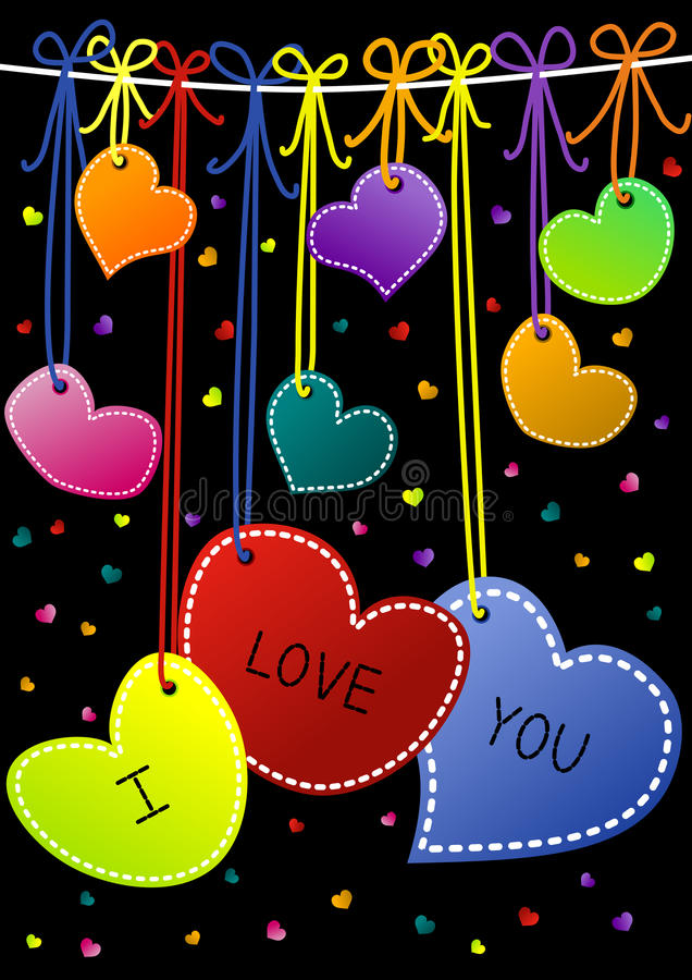 I Love You Hanging Hearts Valentines Day Cards. Hanging Hearts at night valentines day card. I Love You Message on hearts vector illustration