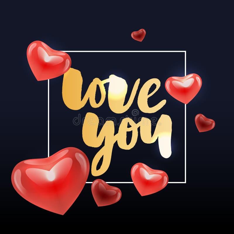 I love you. I heart you. Valentines day calligraphy glitter card. Hand drawn design elements. Handwritten modern brush lettering vector illustration