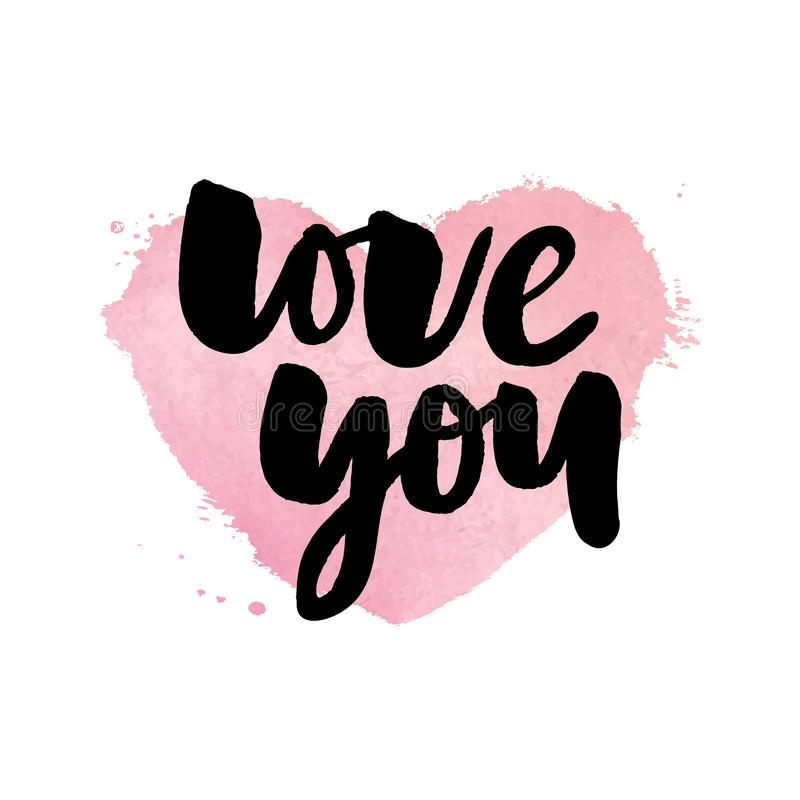 I love you. I heart you. Valentines day calligraphy glitter card. Hand drawn design elements. Handwritten modern brush lettering. I love you. I heart you stock illustration