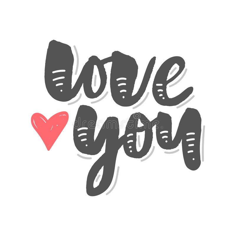 I love you. I heart you. Valentines day calligraphy glitter card. Hand drawn design elements. Handwritten modern brush lettering. I love you. I heart royalty free illustration