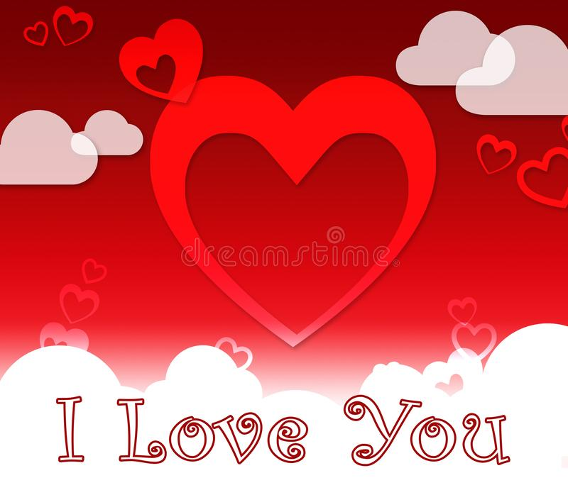 I Love You Hearts Shows Romance And Loving stock illustration