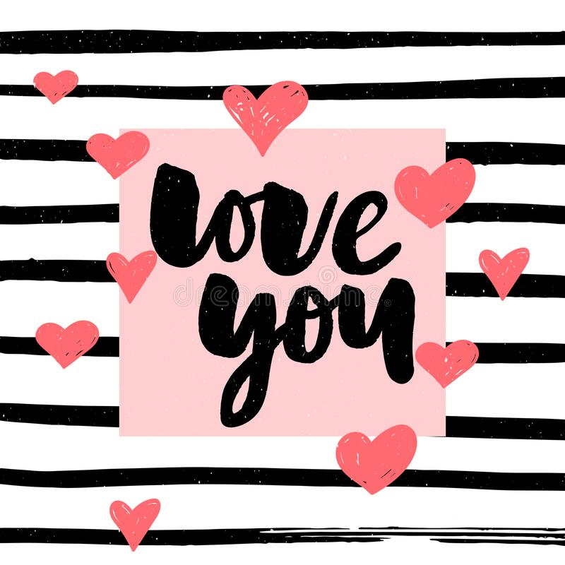 I love you. I heart you. Valentines day calligraphy glitter card. Hand drawn design elements. Handwritten modern brush lettering. I love you. I heart you royalty free illustration