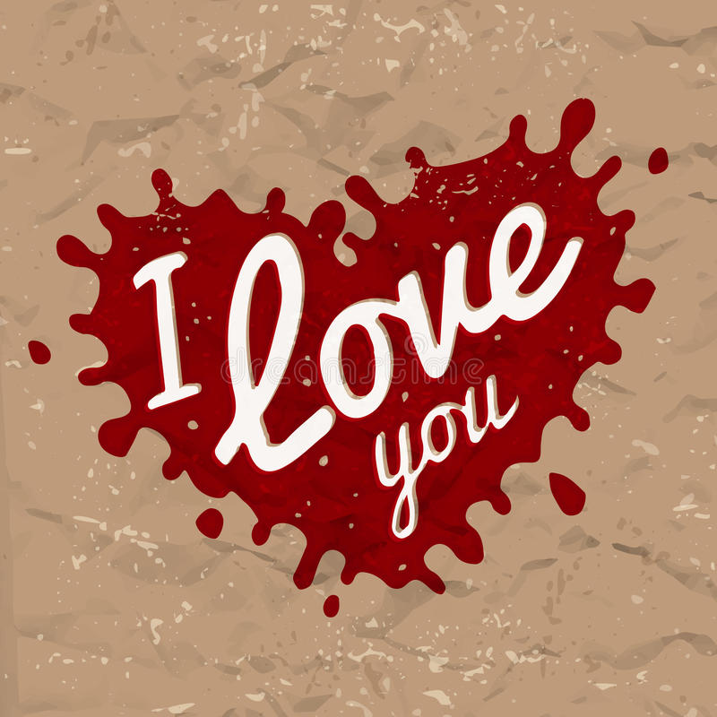 I love you lettering in splash vector design. Retro heart shape symbol logo concept. Bright red ink on brown crumpled royalty free illustration