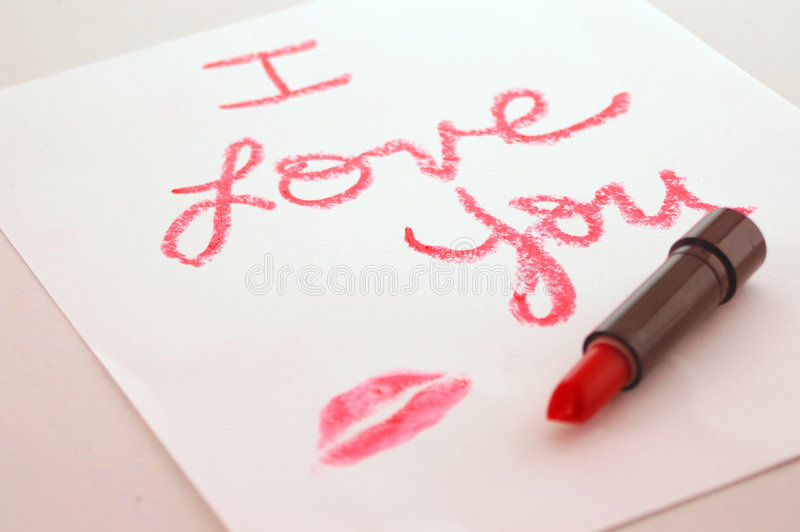 I love you lipstick royalty free stock photos