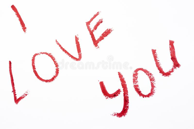 I love you lipstick painted on white background stock photos