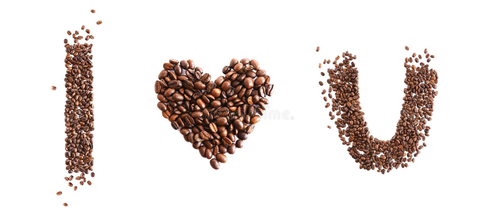 I love you made from coffee beans royalty free stock photos