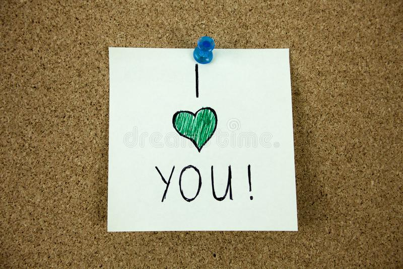 I love you message on cork board royalty free stock image