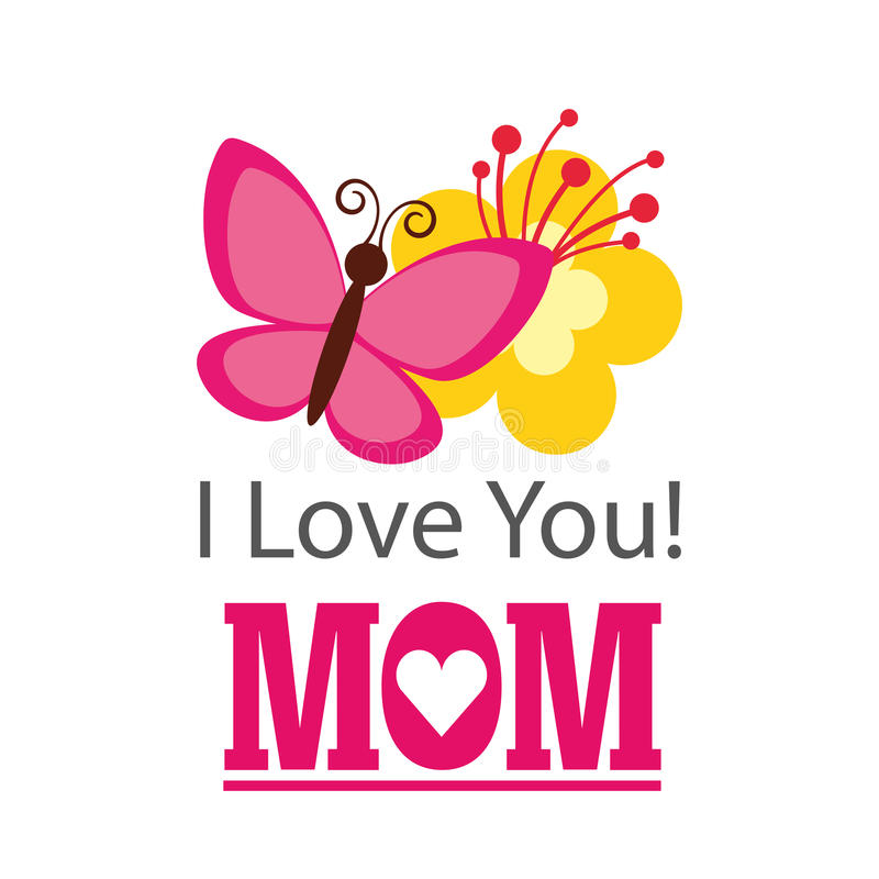 I love you mom card vector illustration
