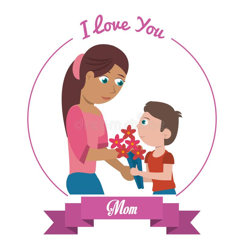 I love you mom card - woman and son gifting flowers. Vector illustration eps 10 royalty free illustration