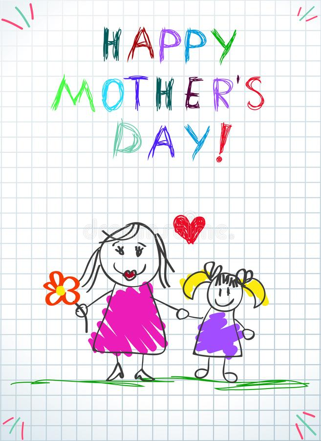 I Love You Mom Children Colorful Pencil Drawings. Happy Mothers Day Children Colorful Pencil Drawings of Mom with Flower and Daughter Holding Hands on Squared vector illustration