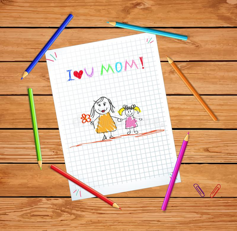 I Love You Mom. Colorful Hand Drawn Illustration. I Love You Mom. Kids Colorful Hand Drawn Illustration of Mother and Daughter on Checkered Notebook Sheet or stock illustration