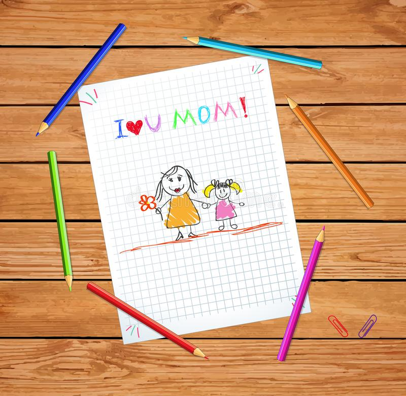 I Love You Mom. Colorful Hand Drawn Illustration. I Love You Mom. Kids Colorful Hand Drawn Illustration of Mother and Daughter on Checkered Notebook Sheet or royalty free illustration