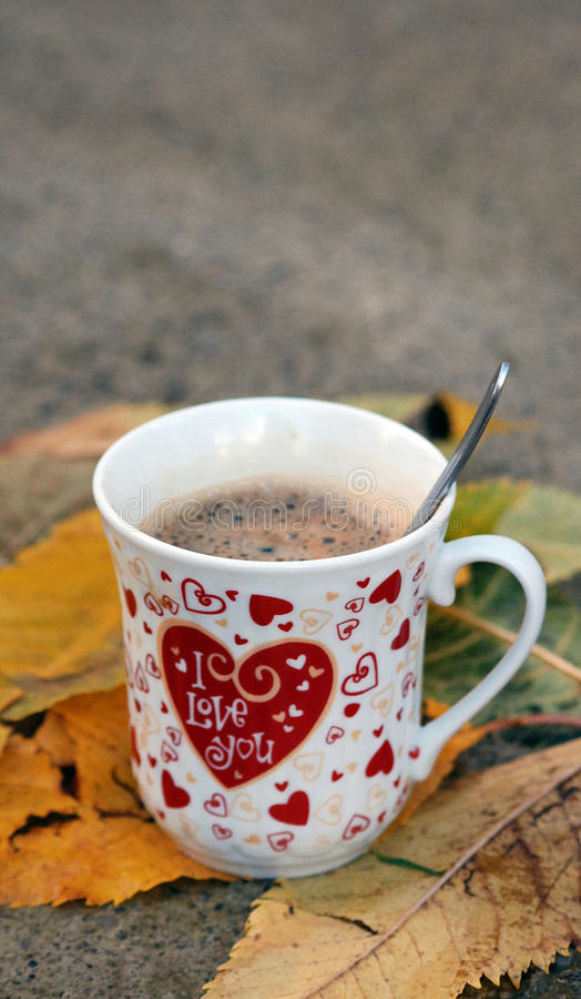I love you , morning coffee. Picture of a I love you coffee, on one november morning with leaves stock images