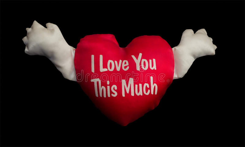 I Love you this much. A heart with hands and a message I Love you this much stock photos