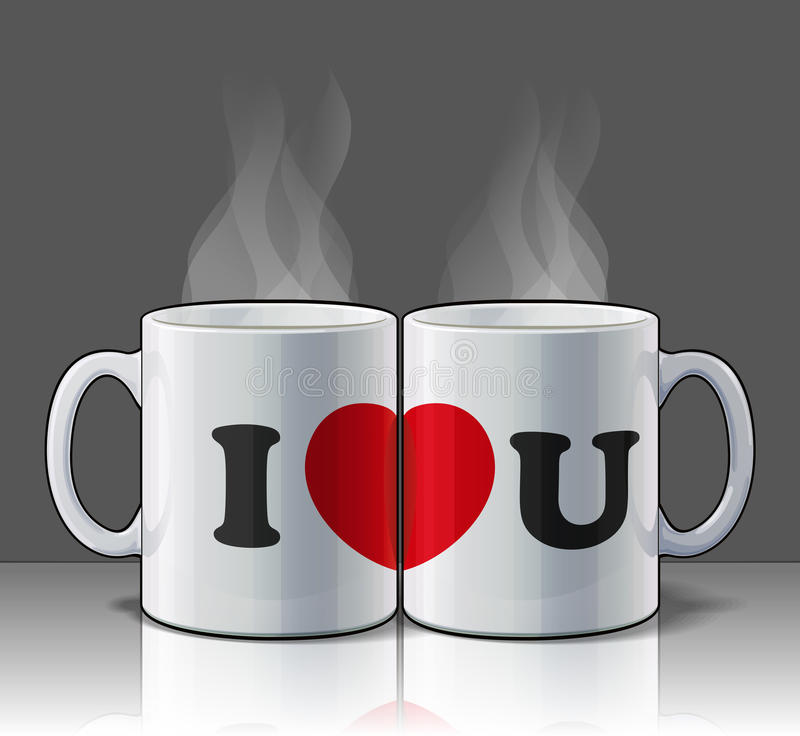 I Love You Mugs. I Love you with my morning coffee... A symbolic statement of a couple that enjoy sharing life together! EPS v.10 file with transparencies and a royalty free illustration