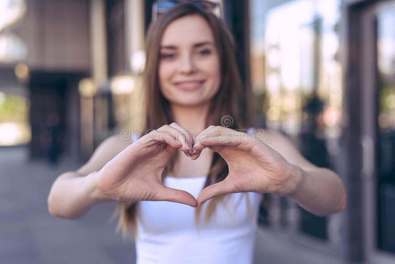 I love you! New life jot fun model romance romantic hipster concept. Close up view photo portrait of beautiful pretty nice cheerfu. L excited with toothy smile royalty free stock image