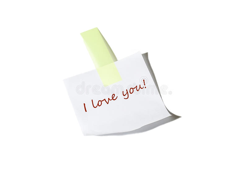 I love you note stock image