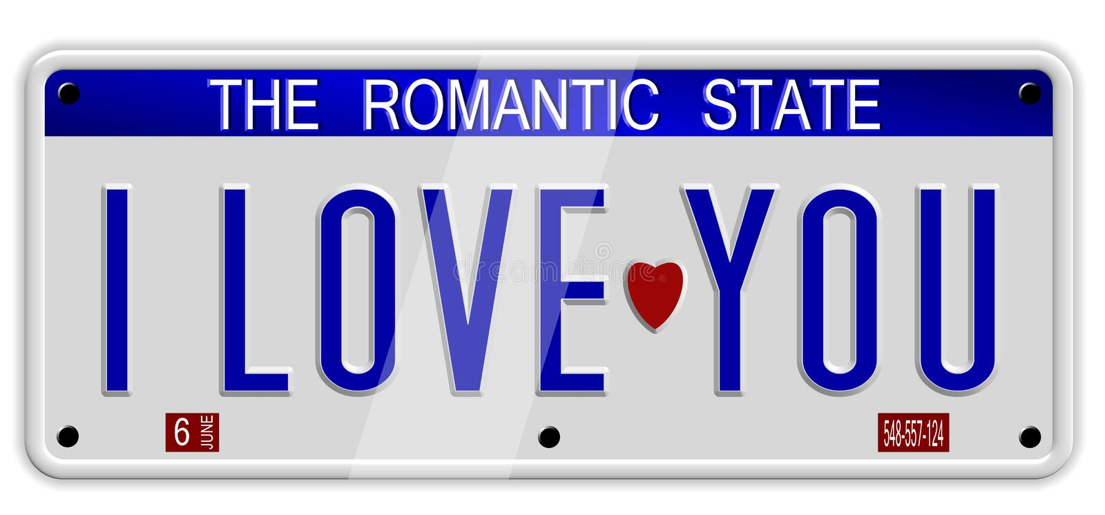I love you number plates. White car number plates spelling I love you on the white background stock illustration