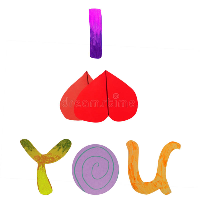 Download I love you paper artwork stock illustration. Image of wrapping - 23254832