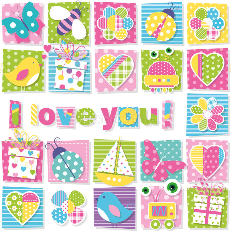 Free I Love You Pattern Royalty Free Stock Image - 48423556