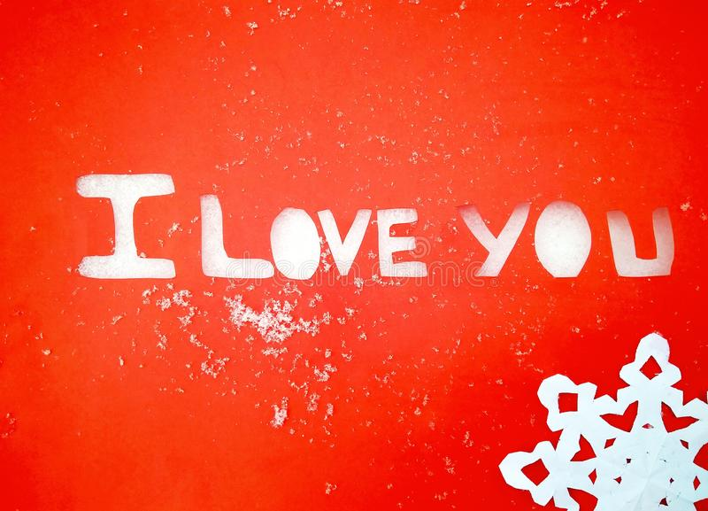 I love you peper cut words on white. I love you peper cut words with red royalty free stock image
