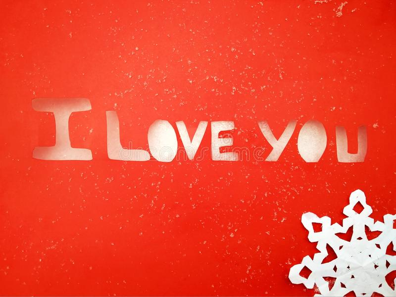 I love you peper cut words on white. I love you peper cut words with red royalty free stock photo