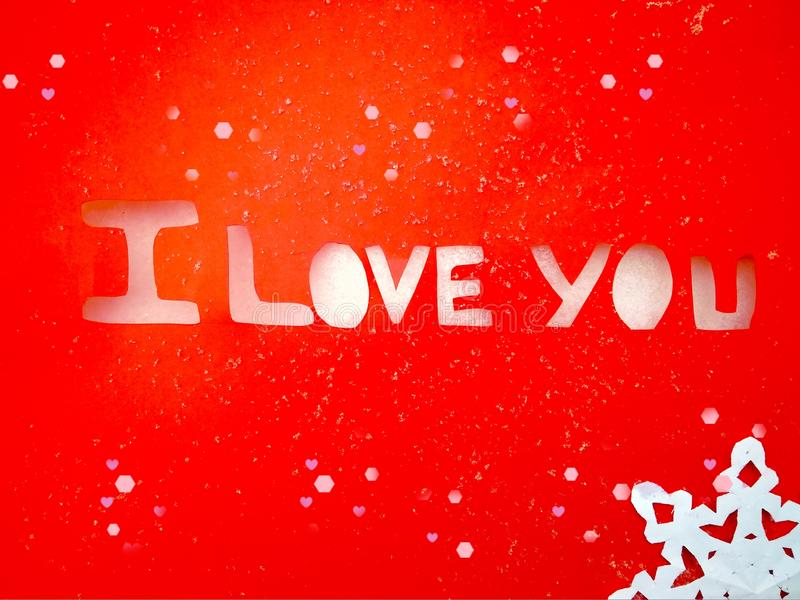 I love you peper cut words on white. I love you peper cut words with red stock photos