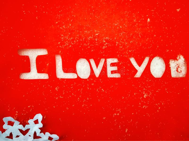 I love you peper cut words on white. I love you peper cut words with red royalty free stock photography