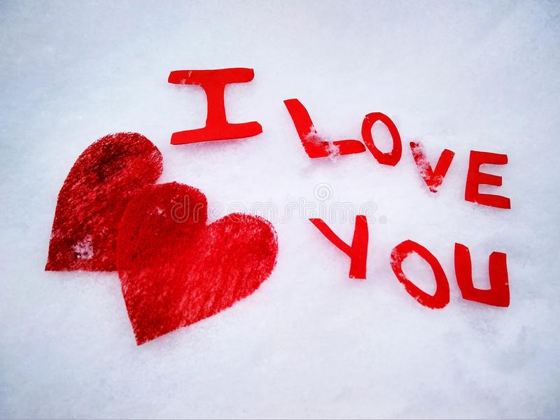 I love you peper cut words on white. I love you peper cut words with red stock image