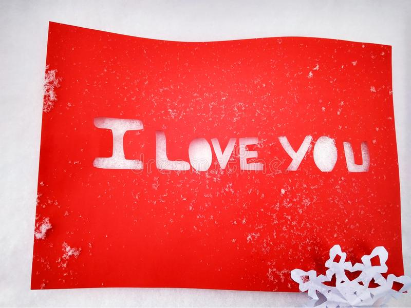 I love you peper cut words on white. I love you peper cut words with red royalty free stock photos