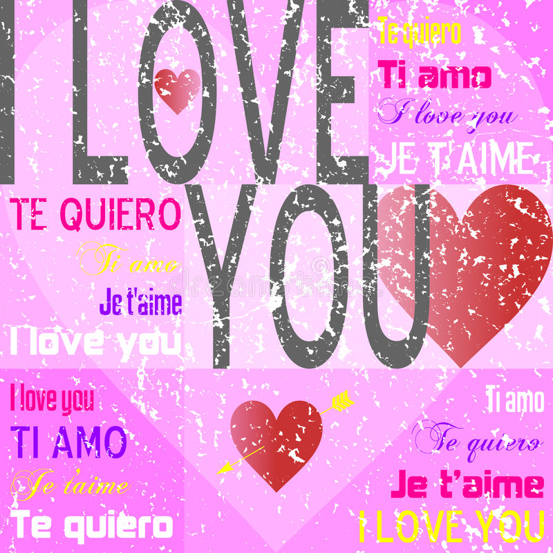 Download I Love You [Pink Grunge] stock illustration. Illustration of anniversary - 3924947