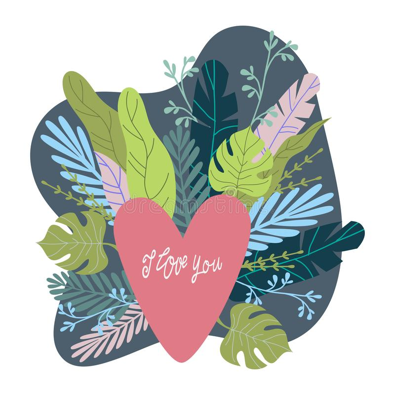I love you, pink heart and abstract flowers and leaves with hand draw lettering on a white background, flat vector vector illustration