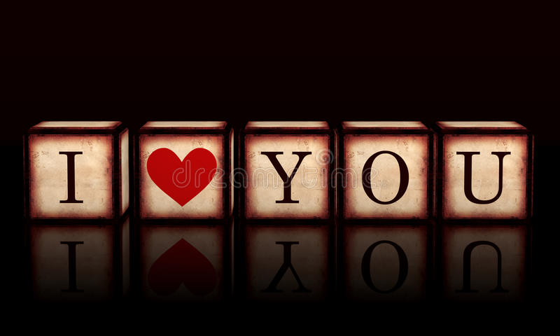 I love you with red heart in 3d wooden cubes stock illustration
